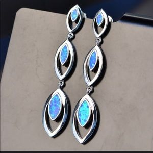 Blue Fire Opal 925 earrings